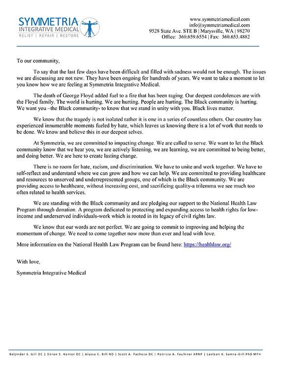 Chronic Pain Marysville WA Letter From Symmetria Integrative Medical